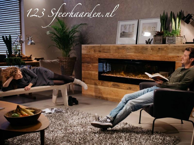 Lange inbouw sfeerhaard van 188cm met LED kleuren, verwarming en korting
