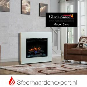 Voordelige ombouw in de kleur wit van Classicflame met electrische haard