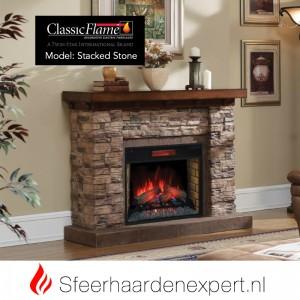 Ombouw van steen met sfeerhaard werking op elektriciteit classicflame
