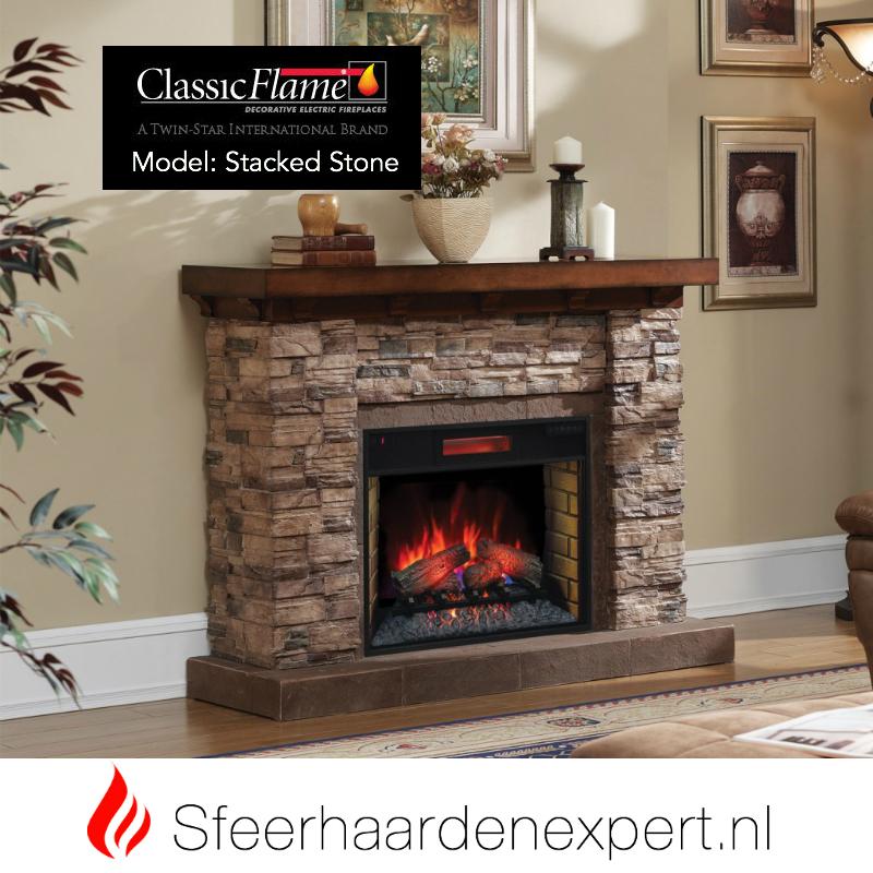 classicflame elektrische haard met schouw ombouw Stones