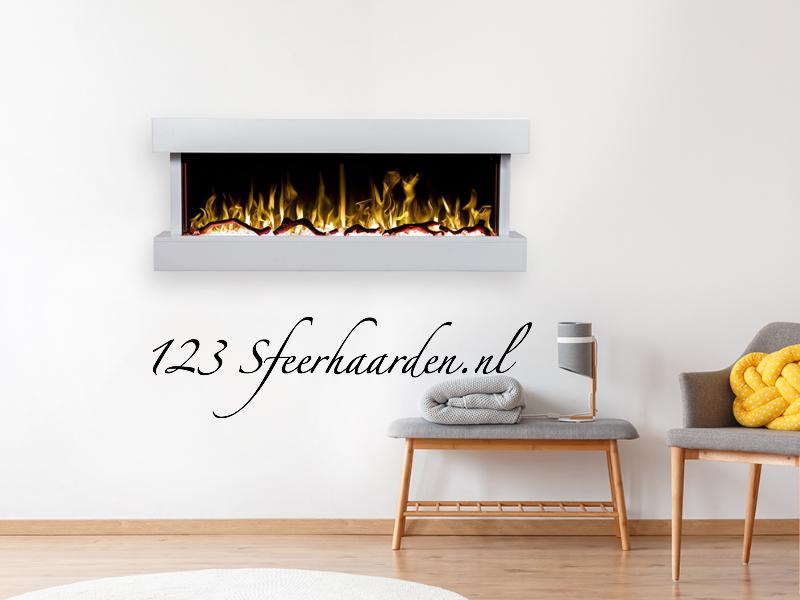 elektrische wand sfeerhaard met 3 kanten zicht op het vuur Noble flame Verona